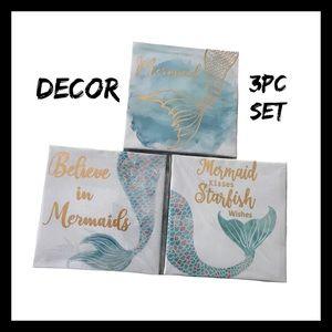 Mermaid 3Pc Canvas Wall Art NIB